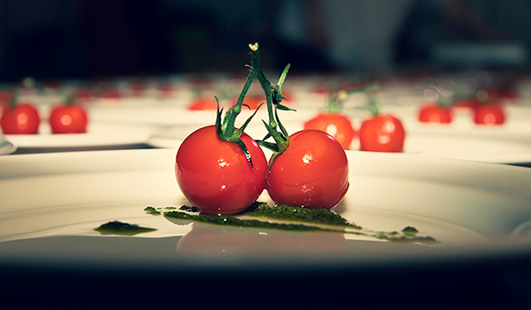 Two tomatoes on a plate at the start of plating out a starter